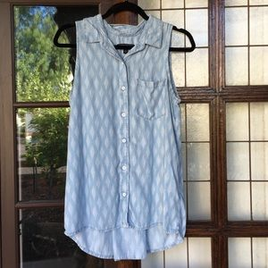 Banana Republic blue white pattern button down